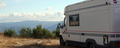 Camper op camping in Portugal